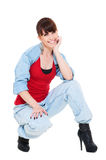 Smiley woman in  jeans Stock Photos