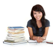 Smiley woman learning Royalty Free Stock Photography