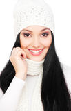 Smiley woman with long hair in hat Royalty Free Stock Photos