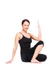 Smiley woman practicing yoga. Isolated on white background Stock Photo