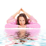 Smiley woman relaxing Stock Photo