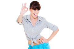 Smiley woman showing the ok sign Stock Images