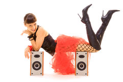 Smiley woman on speakers Stock Image