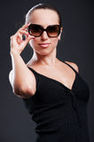 Smiley woman in sunglasses Royalty Free Stock Photo
