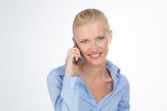 Smiley woman on white background Stock Photo