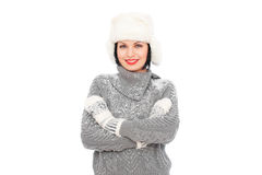Smiley woman in white fur hat Stock Image