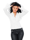 Smiley woman in white shirt Stock Photography