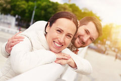 Smiley young couple in love Stock Photography