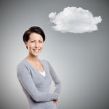 Smiley young woman with cloud Stock Image