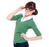 Smiley young woman in glasses Royalty Free Stock Photo