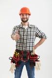 Smileyarbeiter mit Werkzeugen Stockfotografie
