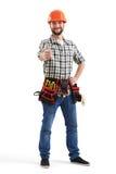 Smileyarbeiter mit Werkzeugen Lizenzfreies Stockfoto