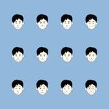 Smileyen vänder mot emoticonuppsättningen Arkivbild