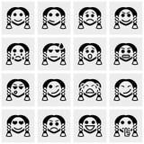 Smileyen vänder mot vektorsymbolsuppsättningen på grå färger Arkivfoto