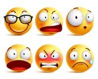 Smileyframsida eller emoticonsvektoruppsättning i guling med ansiktsuttryck stock illustrationer