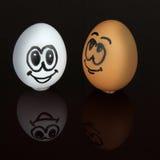 Smileyframsida för två ägg Royaltyfri Fotografi