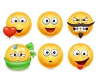 Smileyframsidasymboler Rolig uppsättning för framsidor 3d, gullig gul ansiktsuttrycksamling 3 royaltyfri illustrationer