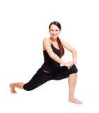 Smileyfrau, die Flexibilitätsübungen tut lizenzfreies stockbild