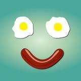 Smileygesicht mit dem einfachen Frühstück täglich Stockfotografie