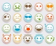 Smileygesichts-Vektor Emoticons stellten in weißen flachen Ikonenaufkleber ein stock abbildung