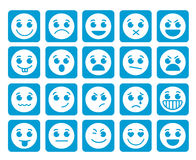 Smileygesichts-Vektorikonen in den quadratischen flachen blauen Knöpfen mit Gefühlen Stockfotografie