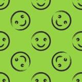 Smileygezicht met een borstel wordt getrokken die Naadloos patroon Groen, zwart Royalty-vrije Stock Foto