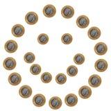 Smileygezicht van muntstukken op wit royalty-vrije stock foto's