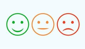 Smileyikonensatz Emoticons Positiv, neutrale Person und Negativ Vektor lokalisierte rote und grüne Stimmung Veranschlagendes Läch stock abbildung