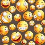 Smileymuster-Vektorhintergrund mit den ununterbrochenen oder nahtlosen glücklichen Gesichtsausdrücken vektor abbildung