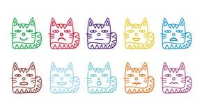10 smileypictogrammen in de vorm van grappige katten Stock Fotografie