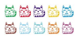 10 smileypictogrammen in de vorm van grappige katten Stock Afbeelding