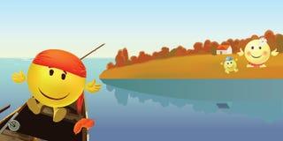 Smileysäsonger yellow för vatten för leafs för float för höstbobberfiske royaltyfri illustrationer