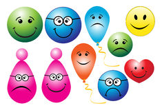 Smileys. Illustration of smileys on white background Royalty Free Stock Image