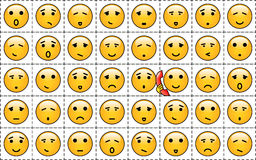 Smileys. A set of yellow smileys with different faces Vector Illustration