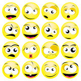 Smileys. Set of various funny faces Royalty Free Stock Photos