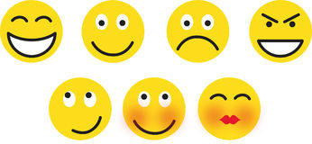 Smileys. Set of seven smileys - vector illustration Royalty Free Stock Images