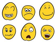 Smileys. Smiley faces - cartoon emoticon expressions. Happy, angry and confused balls Stock Photography