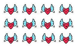 Smileys av hjärtor med vingar i stilen av kawaiien royaltyfri illustrationer