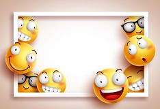 Smileys background vector template with white boarder frame Royalty Free Stock Images