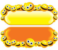 Smileys Banners. Banners with lot of smileys for fun text Royalty Free Stock Photos