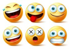 Free Smileys Emoji And Emoticon Faces Vector Set. Smiley Emojis Or Emoticons With Crazy, Surprise, Funny, Laughing, And Scary. Royalty Free Stock Photography - 164397587