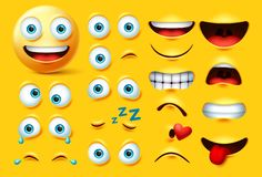 Smileys emoticon character creation vector set. Smiley emoji face kit eyes and mouth in angry, crazy, crying, naughty, kissing.