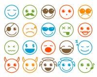 Smileys emoticon vectordiepictogrammen in de vlakke knoop van de lijncirkel worden geplaatst stock illustratie