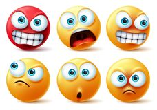 Smileys emoticons face vector set. Smiley yellow icon and emoticon faces with angry red, surprise, cute, crazy and funny.