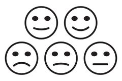 Smileys emoticons icon positive, neutral and negative, different mood. Vector illustration Stock Photos