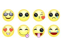 Smileys Emoticons Ustawiają gelb Obraz Stock