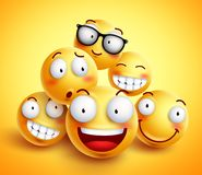 Smileys face vector design with group of cheerful happy friends. Of funny smileys with facial expressions in yellow background. Vector illustration stock illustration