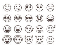 Smileys faces flat line vector icons set with funny facial expressions Stock Photography