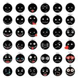 Smileys funny funny black vector fps 10 set royalty free stock photo