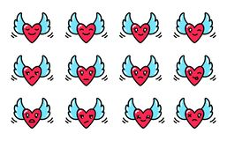Smileys of hearts with wings in the style of kawaii. royalty free illustration